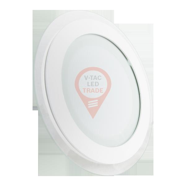 12W LED Mini Panel Glass - Round, White