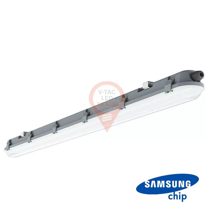 LED Waterproof Fitting M-Series 1200mm 36W 4000K Milky Cover SS Clip 120 lm/W