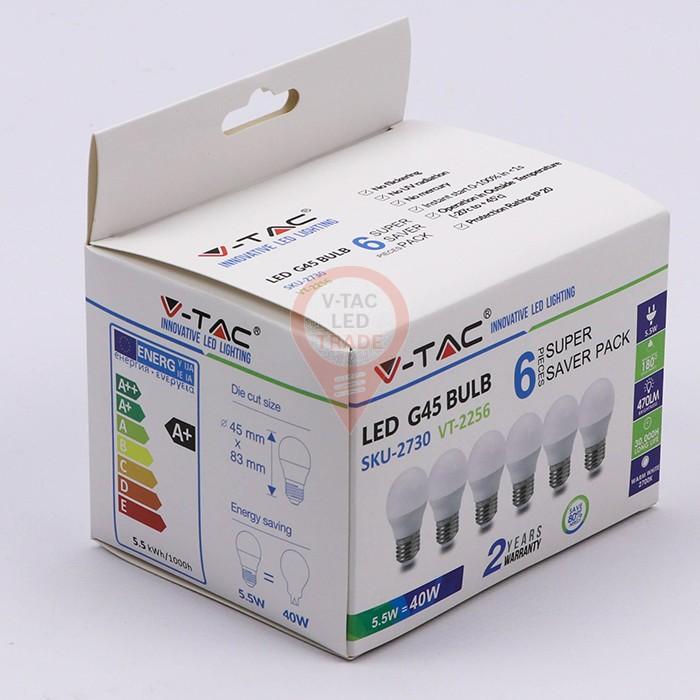 LED Bulb - 5.5W E27 G45 2700K 6PCS/PACK