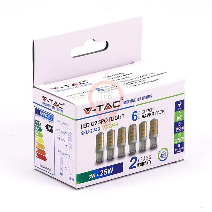 LED Spotlight - 3W G9 Plastic 3000K 6pcs/Pack