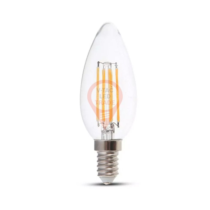LED Bulb - 6W Filament E14 Clear Cover Candle 4000K 130LM/W