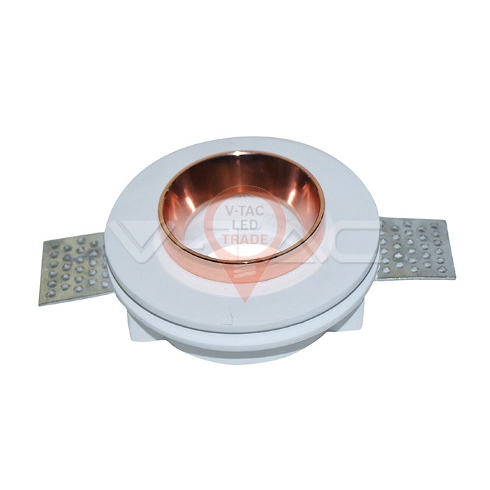 GU10 Fitting Gypsum White Recessed Light Rose Gold Metal Round
