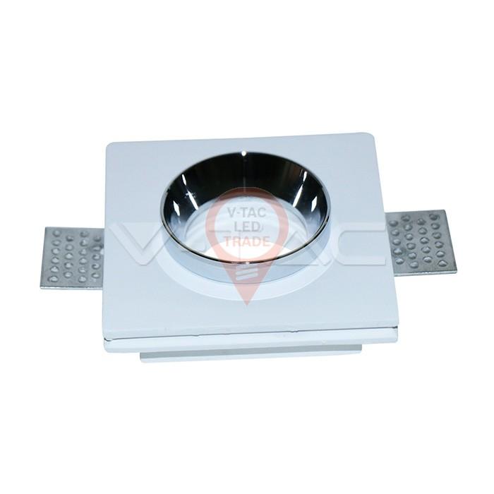 GU10 Fitting Gypsum White Recessed Light Chrome Metal Square