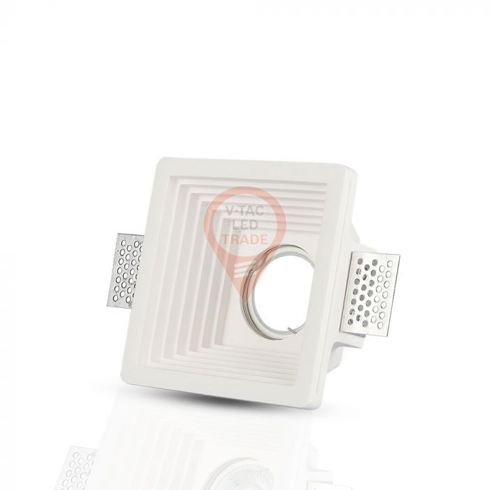 GU10 Fitting Gypsum White Recessed Light Square