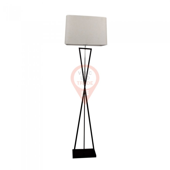 Designer Floor Lamp E27 Ivory Square Lampshade Black Metal Canopy Switch