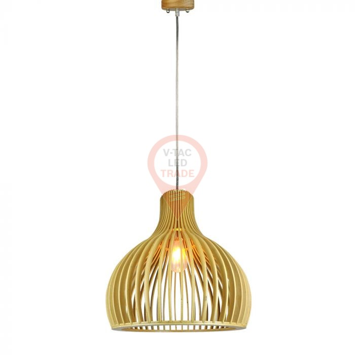 Wooden Pendant Light Cone Cave D450 x H450mm