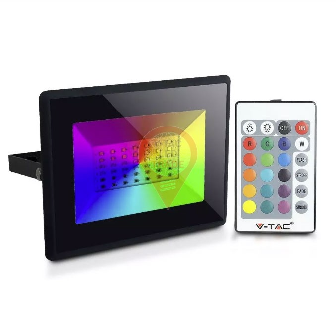 30W LED Floodlight with Remote Control RGB IP65