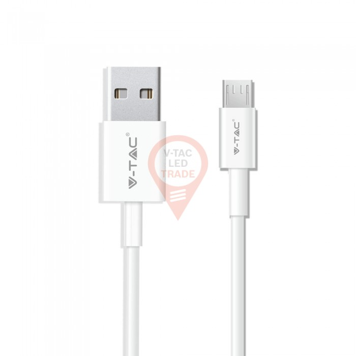 1m. Micro USB Cable White - Pearl Series