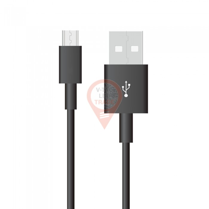 1m. Micro USB Cable Black - Pearl Series