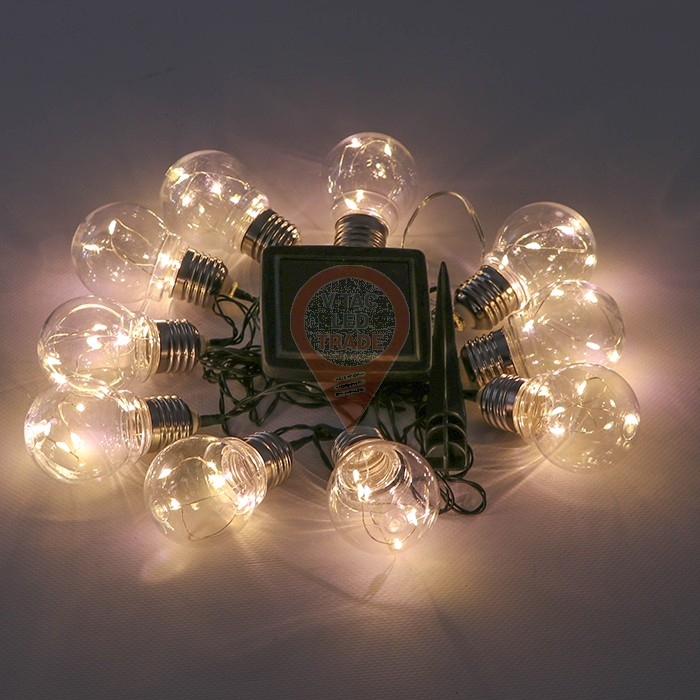 LED Solar String Light 10 Bulbs 3000K