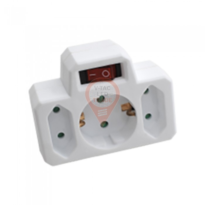 3 Outlet Power Adapter with Earth Contact And Switch 16A 250V