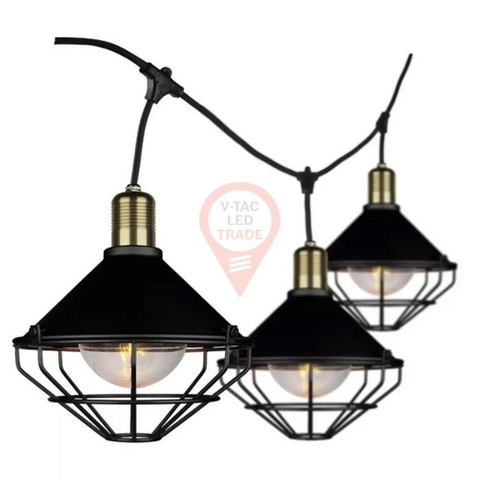 LED String Light 3M 6 Bulbs Matt Black Mesh IP65