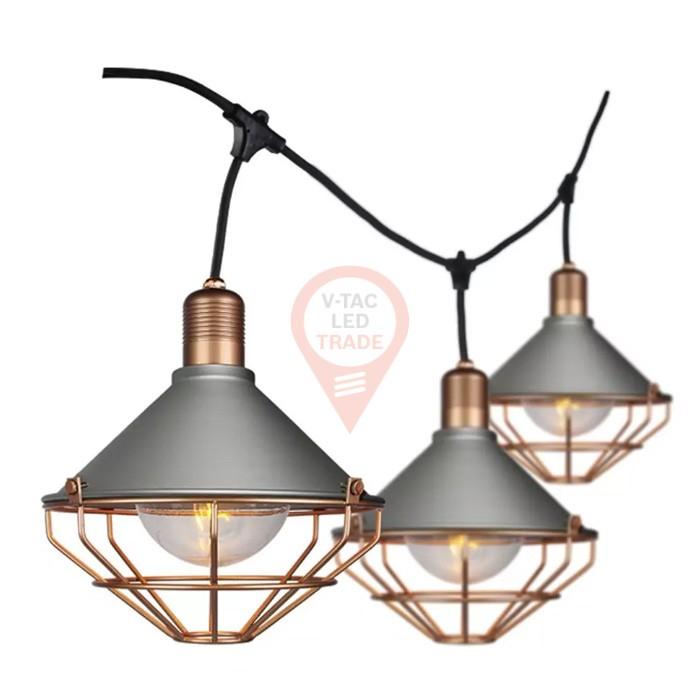 LED String Ligh 3M With 6 Bulbs Matt Rose Gold IP65