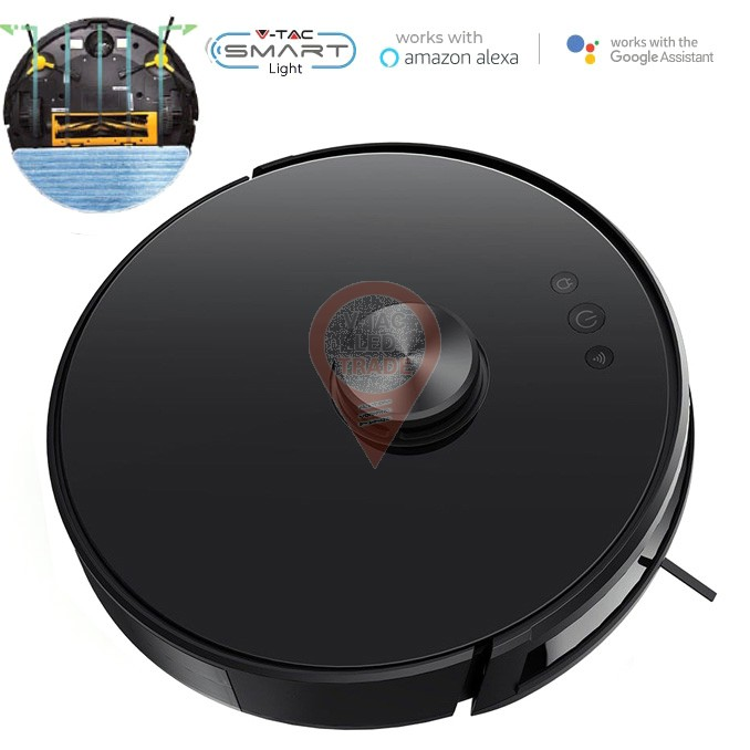 Vacuum Cleaner Auto Charging Gyro Robotic Laser Compatible With Amazon Alexa And Google Home-Black