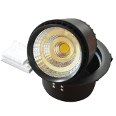 25W LED Downlight Zoom Fitting - Black Body, Warm White