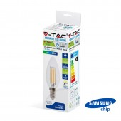 LED Bulb SAMSUNG Chip Filament 4W E14 Candle Clear Cover Dimmable 2700K