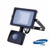 10W LED Sensor Floodlight SAMSUNG CHIP Cut-OFF Function Black Body 3000K