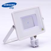 50W LED Sensor Floodlight SAMSUNG CHIP Cut-OFF Function White Body 3000K