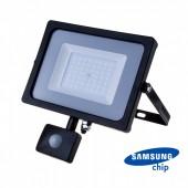 50W LED Sensor Floodlight SAMSUNG CHIP Cut-OFF Function Black Body 6400K