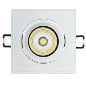 5W LED Downlight Adjustable Square - White Body, White