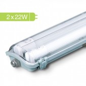 LED Waterproof Lamp Fitting with 2 x 22W 150cm Tubes Natural White