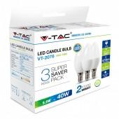 LED Bulb - 5.5W E14 Candle Natural White 3 PCS/PACK