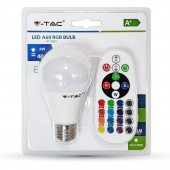 LED Bulb - 6W E27 A60  RGB With Remote Control, White Blister Pack