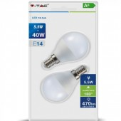 LED Bulb - 5.5W E14 P45 Warm White 2 pcs/pack