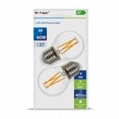 LED Bulb - 4W Filament  E27 G45 Clear Cover Warm White  2 pcs/pack