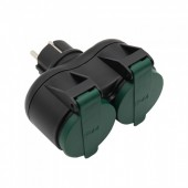 2 Ways Adapter 16A IP44 Black+Green