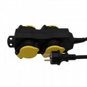 4 Ways Socket 3G 1.5mm x 3m IP44 Black+Yellow
